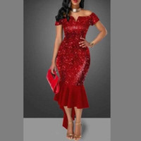 Wholesale vintage prom dresses online - Shinning Red Sequined Prom Dresses Off The Shoulder Short Sleeves Tea Length Cocktail Party Dress Celebrity Mermaid Hi Lo Evening Gowns