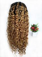 pelucas delanteras llenas del cordón indio al por mayor-Pelucas de Ombre Raw Indian Curly Honey Blonde Peluca de encaje completo sin pegamento de color 1B 27 Deep Wave trenzado de encaje pelucas delanteras para mujeres negras