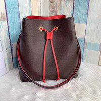 Wholesale black leather drawstring bag for sale - Group buy Drawstring for women leather fashion shoulder bag classic Tote for lady handbags presbyopic shopping bag purse messenger bag