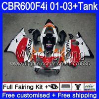 cbr repsol fairings toptan satış-Gövde + Tank HONDA CBR 600 F4i CBR 600F4i CBR600FS 600 FS 286HM.28 CBR600F4i 01 02 03 CBR600 F4i Repsol Kırmızı beyaz 2001 2002 2003