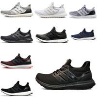 koşu ayakkabıları mavi beyaz toptan satış-Ultra Boost 3.0 4.0 Üçlü Siyah Beyaz Primeknit Oreo CNY Mavi gri Erkekler Kadınlar Ayakkabı Ultra Boosts'un ultraboost Spor Spor ayakkabılar Koşu