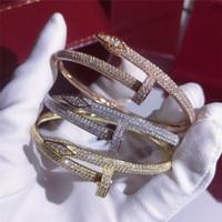 ingrosso bracciale in argento-Di lusso Iced Out Bling Zircone cubico Hip Hop Rosa oro argento Braccialetti per unghie Braccialetti a punta Regali per le donne degli uomini
