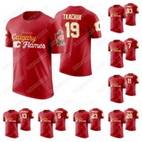 johnny camisetas venda por atacado-Calgary Flames 2019 Heritage Classic T-shirt Matthew Tkachuk Sean Monahan Sam Bennett Johnny Gaudreau Mikael Backlund Lanny McDonald Jersey