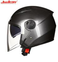casco de doble cara de doble lente al por mayor-JIEKAI Casco de motocicleta Moto Motocross Casco Moto Casco para motocicleta Racing Half Face Crash Dual Lens