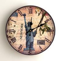 heykel özgürlük duvarı toptan satış-El Yapımı Ahşap Kuvars Duvar Saati Heykeli Için Özgürlük Gül Çiçek Desen Ev Dekoratif Yuvarlak Saatler Pratik 12 Top Kalite