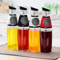 botellas de vinagre de aceite de oliva al por mayor-Reforzar el dispensador de aceite de vidrio Cocina Aceite de oliva Lata Jarra de vinagre de calidad alimentaria Vinagreras de mesa premium Botella de aceite de oliva Sazonador Recipiente