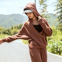 büyük boyun ceketleri toptan satış-Kadınlar Sport Hoodie Gevşek Koşu Ceket Seksi Big V yaka Yoga Coat Bayan uzun kollu çalışan egzersiz giyim Jimnastik Üst