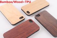 holzschalenschnitzerei großhandel-Echt Bambus / Holz Fall + TPU Für iPhone X XS Max XR 6 7 8 Hard Cover Schnitzen Holz Bambus Samsung Smartphone Shell Protector