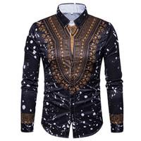 traditioneller kleidermann großhandel-3D Print Shirt Men 2019 Traditionelle afrikanische Dashiki Men Shirt Langarm Slim Fit Casual Herren Hemden Camisas Masculinas