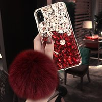 Wholesale iphone 5c designs online – custom Fashion Design Luxury DIY Bling Crystal Diamond Rhinestone With Fur Ball Tassel Case Cover For iPhoneX XS MAX XR Plus S C
