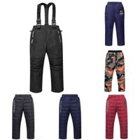 Wholesale boys pants braces resale online - Big Boy Down Pants Kids Boy Braces Pants Kids Designer Clothes Big Girls Winter Warm Thicken Solid Casual Pocket Trousers Outfits