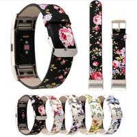leder uhrenband blume großhandel-Frauen Mädchen Mode Blumen weiches Leder Ersatz Zubehör Bands Armband Blume Gurt kompatibel für Fitbit Charge 2 Smart Watch