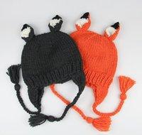 детские шапки ручной работы оптовых-Детская шляпка Младенческая новорожденная фотография реквизит мультфильм лиса детская шляпа фотография детские аксессуары вязание крючком вязаная детская шапка ручной работы