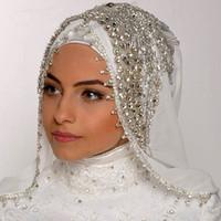 véus de casamento hijab venda por atacado-Luxo Costura Beads Véus De Cristal Custom Made Cor Comprimento Amplo Véus Muçulmanos Hijab Uma Camada Feitos À Mão Véu Do Casamento