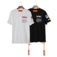 gömlek x s toptan satış-NASA x Heron Preston T Gömlek Mens Yaz Kısa Kollu T Shirt Emboridered Crewneck Casual 2 Renkler Tops