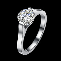 Wholesale cubic zirconia platinum plated sets for sale - Group buy Statement Wedding Solitaire Rings Round Pure Cubic Zirconia Platinum Plated Stainless Steel Romantic Classic Designer Engagement Women Ring