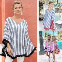 Wholesale hottest maternity clothes resale online - Women Striped V Neck Cloak Tops Women Designer Clothes Fashion tassel shawl Casual Tees Maternity Women Summer Clothes T shirts Hot C520