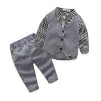 chalecos de manga larga al por mayor-Chicos europeos y americanos de primavera nueva camisa de manga larga a cuadros chaleco pantalones traje de tres piezas k1