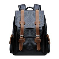 ingrosso zaini in pelle di cavallo pazzo-Zaino classico da uomo in pelle Crazy-horse PU impermeabile per 15.6 '' Laptop Business Travel School Man Bag