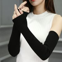 модные рукавицы оптовых-Fashion-Hand Warm Женские без пальцев Обогреватели для рук Твердые рукава Манжеты Шерстяные вязаные перчатки для женщин Зима согреться Высокая эластичность