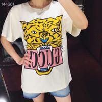 frauen langarmhemd muster großhandel-T-Shirt der Tiger-Frauen der Großhandels2019 Tiger-Muster-Art- und Weisehülsen-T-Shirt Dame Leisure lose Art Pullover runder Kragen-Mantel
