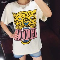 Wholesale collar neck t shirts resale online - Street Women s T Shirt Tiger Pattern Fashion Long Sleeve T shirt Lady Leisure Loose Type Pullover Round Collar Coat