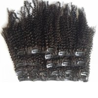melhor cabelo virgem encaracolado venda por atacado-Afro Kinky Curly Mongolian Clipe Extensões de Cabelo 8 pcs set 100 gramas 100% Real Virgem Produtos para o Cabelo Humano Melhor 10A 10-24 inch 2 sets Cabeça Cheia