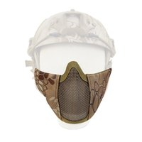 Wholesale steel mesh half face mask resale online - New Tactical Half Face Metal Steel Net Mesh Mask Hunting Protective Guard D Nylon Mask Cover for Airsoft Paintball