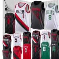 ingrosso cj jersey-NCAA Damian 0 Lillard Maglie CJ 3 McCollum Jersey Kemba 8 Walker Derrick 25 Rose Alta qualità