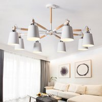 Wholesale wooden study room resale online - Nordic Chandelier E27 With Iron Lampshade For Living Room Suspendsion Lighting Fixtures Lamparas Colgantes Wooden Lustre