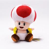 ingrosso funghi ripieni-17cm Super Mario funghi acconciatura Toad peluche ripiene Fungo Mario giocattoli di peluche migliore regalo bambola lol spedizione gratuita