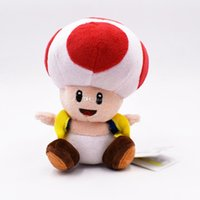 ingrosso peluche farcito mario-17cm Super Mario fungo acconciatura Toad Peluche ripiene Toy fungo Mario giocattoli di peluche migliore regalo bambola lol spedizione gratuita