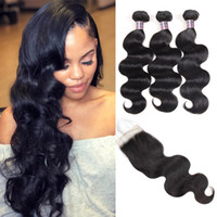 Wholesale body wave hair weaves for sale - Brazilian Virgin Hair Extensions With Lace Closure Peruvian Body Wave Human Hair Bundles With Closure Malaysian Human Hair Weave