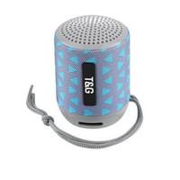 hoparlör radyo dhl toptan satış-Kablosuz Bluetooth Hoparlör Mini Taşınabilir TG129 Bas FM Radyo Ses TF Kart USB Kumaş Açık Spor Hoparlörler Ücretsiz DHL