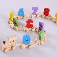 Wholesale boys products for sale - Group buy Creative Wood Train Figure Model Toy Puzzle With Number Pattern Children Early Educational Toys Funny Party Gift yl BB