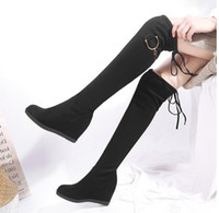 Wholesale thigh high wedge plus size boots resale online - Plus size to Sexy Black Suede Wedge Heels Height Increased Over The Knee Thigh High Boots cm