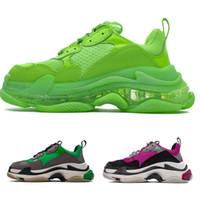 Wholesale lime green shoes for men for sale - Group buy 2019 Fashion Paris FW Triple S Sneaker Dark Green Triple S Casual shoes Dad Shoes for Men s Women Beige Black Sports Tennis