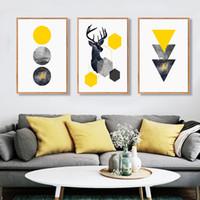 pinturas geométricas al por mayor-VIDA SEGURO abstracto geométrico Triángulos ciervos cartel de lona Impresiones Pinturas cuadros de la pared para sala de estar decoración para el hogar