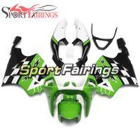 beyaz zx kaplamalar toptan satış-Plastik Yeşil Beyaz Siyah Kalafatlama İçin Kawasaki ZX-7R Yıl 1996-2003 Sıkıştırma Motosiklet Kaporta Yüksek Kaliteli Komple Kabuklar
