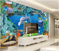 Wholesale underwater 3d mural waterproof wallpapers fireproof resale online - 3D wallpaper custom photo murals wallpapers d fantasy underwater world dolphin mural tv background wall painting wall papers home decor