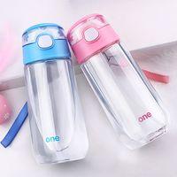 botella de agua de plástico libre al por mayor-Niños Niños Niñas Objeto mágico al aire libre Botellas de agua de jugo caliente Botella de plástico transparente BPA libre con paja
