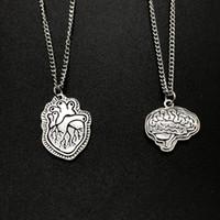 Wholesale brain pendant for sale - Group buy 2019 New Gothic Heart Brain Necklaces Party Statement Necklace Pendant Bff Friendship Men Women Jewelry Punk Hip Hop Rock Choker Collars