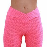 ingrosso giacche bianche di yoga delle donne-YAKSRNE donna Hot Yoga Pantaloni Leggings sportivi bianchi Push Up Calzamaglia palestra Esercizio Vita alta V Fitness Running Pantaloni atletici