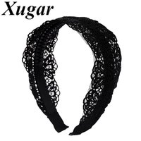Wholesale teeth bands resale online - Lady Retro Lace Flower Headband With Plastic Teeth Solid Double Layer Hair Band Women Wide Hair Hoop Accessories Headwraps