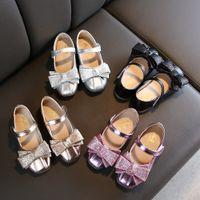 пружинные воздушные сандалии оптовых-Малыш девушка обувь весна осень лук галстук больших детям девочка сандалии Баоего Сладкая принцесса обувь ребенок балет коричневого размером 26-36