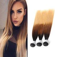 Wholesale ombre human hair bundles resale online - Peruvian Human Hair Extensions B Three Tones Color Straight Bundles Virgin Hair Wefts B