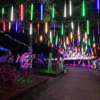 cadılar bayram dekorasyonları açık havada toptan satış-8 / 10Tube Noel Peri Işıklar Led Işıklar meteor yağmuru Yağmur Işık Dış Dekorasyon Sokak Garland Cadılar Bayramı Partisi Lambası CRESTECH