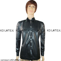 Wholesale fetish collars resale online - Black Sexy Latex Jacket With Buttons At Front Press Collar Fetish Rubber Coat Plus Size Hot Sales YF