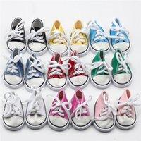 amerikan dantel ayakkabıları toptan satış-18 inç Bizim Nesil Amerikan Kız Erkek Bebekler Aksesuarlar için 2018 Sıcak Satış 18 inç Bebek Ayakkabı Canvas Lace Up Sneakers Ayakkabı