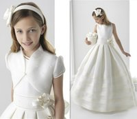 vestido de menina de flor ritzee branco venda por atacado-Branco / Marfim Meninas primeiro comunhão santamente Vestidos da menina de flor elegante vestido Fashion Girl Ritzee Pageant Vestidos Vestido De Daminha